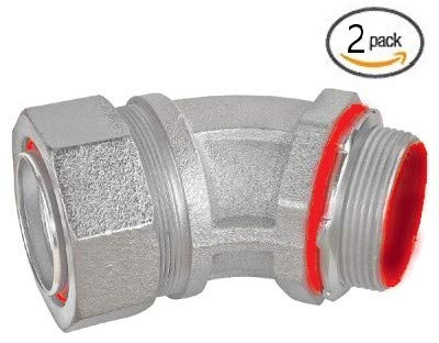 Malleable Iron Liquid Tight Conduit Fittings - Insulated Throat (45-Degree, 2 In. (2-Pack))