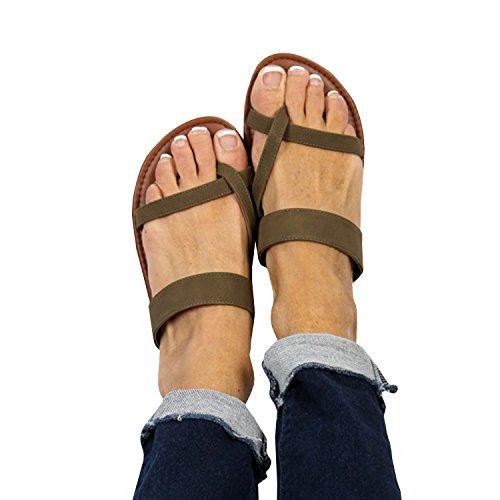 Kvinners Flip Flop Thong Åpen Tå Lav Hæl Kutte Ut Sommerstranden Skinn Sandaler Arm Grønn
