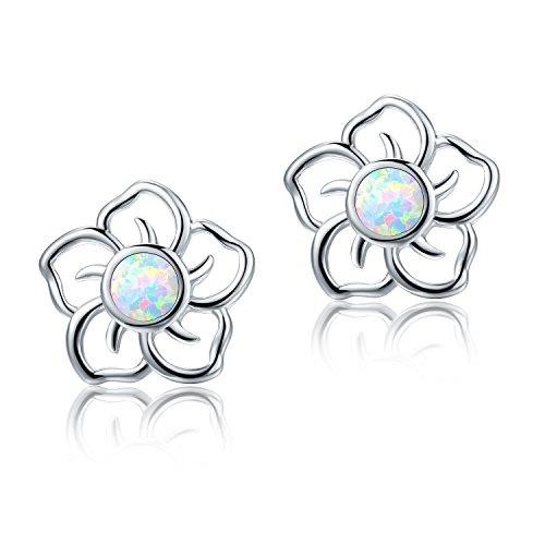 OPALTOP White Fire Opal Sun Flower Stud Earrings Nickel Free for Women Girls White Gold Plated