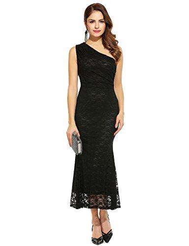 Angvns Women One Shoulder Lace Dress Prom Party Evening Gown Bridesmaids Long Dresses(Black XL)