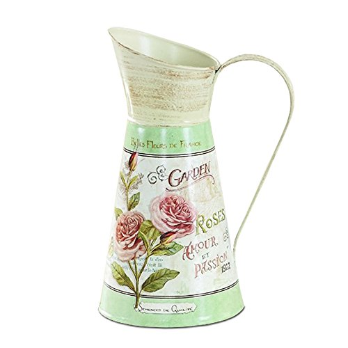 - APSOONSELL Classical Flower Art Metal Pitcher / Vase Vintage Country Home Decoration - Green