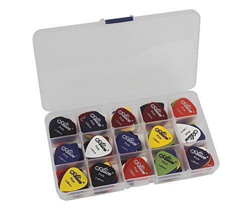 vy Metal Guitar Picks Plectrum Variety Colors Assorted Gauge HEAVY 0.96/1.2/1.5mm + 15 Grid Case Organizer Box ()