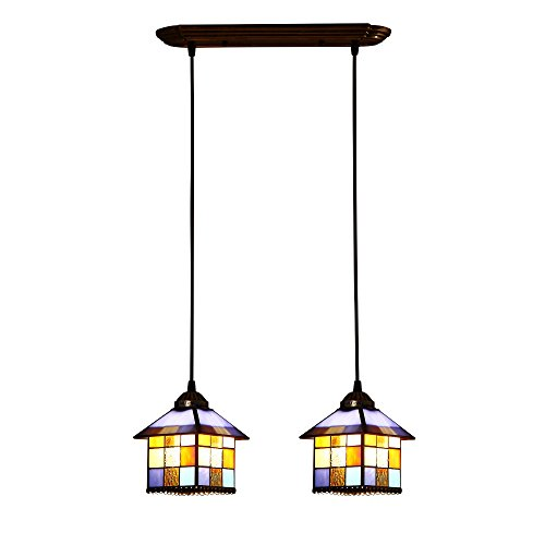 Bieye L10198 8-inches Mediterranean Tiffany Style Stained Glass Ceiling Pendant Fixture with 2-Light