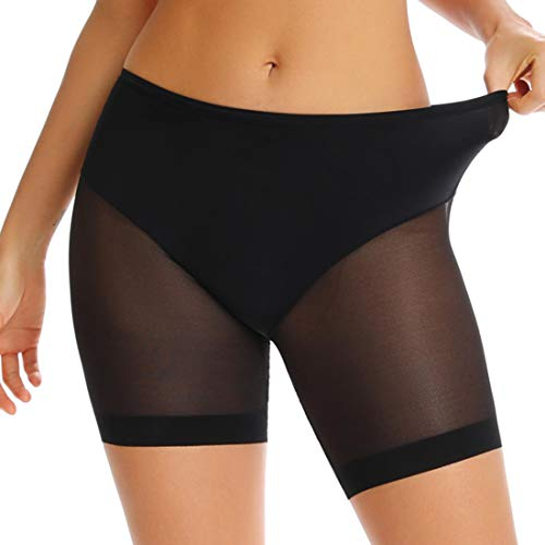 WOWENY Slip Shorts for Women Under Dresses Anti Chafing Mid Thigh Seamless Underwear Sheer Mesh Boyshort Panty (Black, Medium)