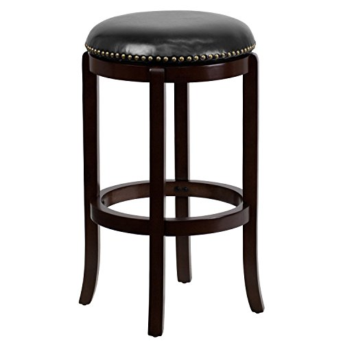 (29'' High Backless Cappuccino Wood Barstool with Black Leather Swivel Seat)