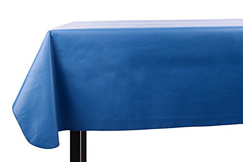 Yourtablecloth Heavy Duty Vinyl Rectangle or Square Tablecloth - 6 Gauge Heavy Duty Tablecloth - Flannel Backed - Wipeable Tablecloth with Vivid Colors & Many Sizes 52 x 90 Royal Blue ()