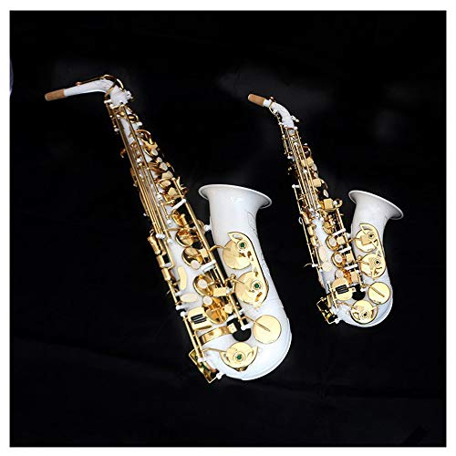Saxophone Sax Glossy Brass Engraved EB E-Flat Natural White Shell Button Wind Instrument with Case Mute Gloves Cleaning Cloth Grease Belt Brush(White)
