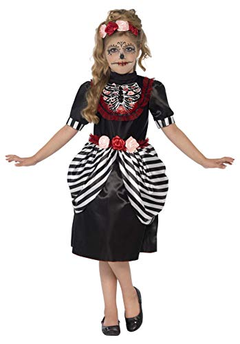 Smiffy's Children's Sugar Skull Costume, Dress & Rose Headband, Ages 7-9,