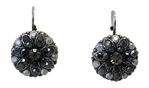 Mariana Black Jewel Swarovski Crystal Flower Earrings 747