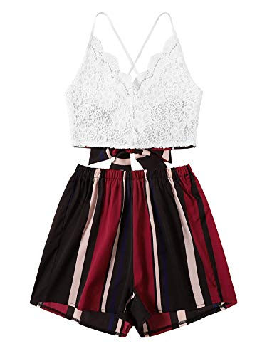 SheIn Women's Boho 2 Pieces V Neck Lace Crop Top and Striped Shorts Outfits Burgundy (Leg Top Lace)