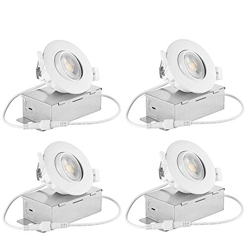Drart LED Gimbal Ceiling Spotlight Recessed Downlight Dimmable 8W Lighting Fixture Retrofit 3 inches, 65W Equivalent 3000K (Pack of 4)