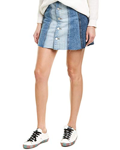 Blank NYC Denim Mini Skirt with Color Blocking Detail in All Or Nothing All Or Nothing 29