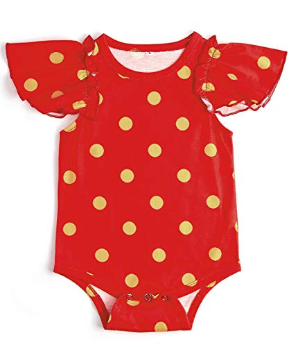 Uideazone Baby Girls Toddler Polka Dot Sunsuit Ruffle Cotton Romper Infant - Suit Body Sleeping Baby