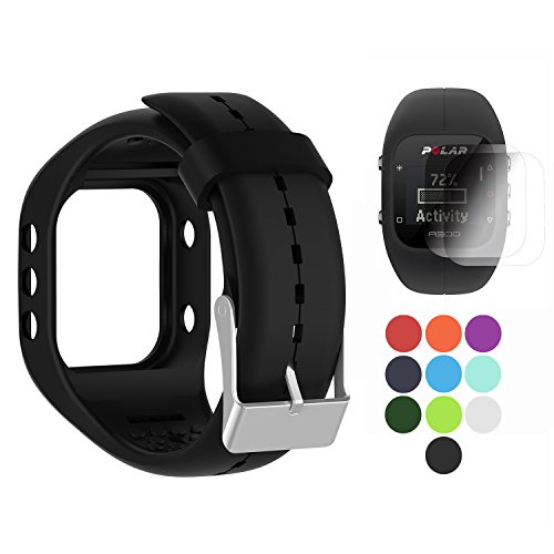 TUSITA Band for Polar A300 - Silicone Replacement Strap Bracelet Wristband with Screen Protector - GPS Smart Watch Accessories (Polar Loop Best Price)