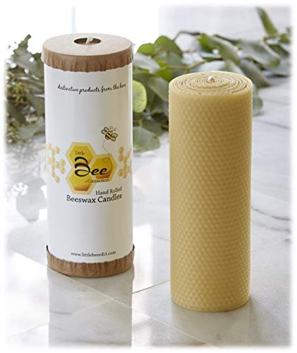 8 Inch Hand-Rolled Beeswax Pillar Candle - Little Bee of CT, A Martha Stewart American Made Maker