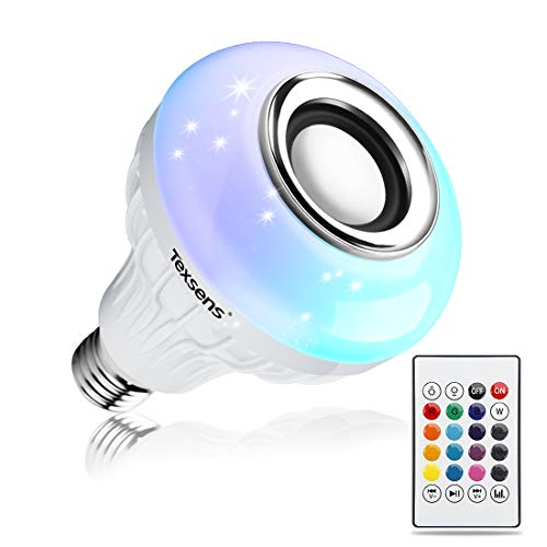 - Texsens LED Light Bulb Bluetooth Speaker, 6W E26 RGB Changing Lamp Wireless Stereo Audio with 24 Keys Remote Control