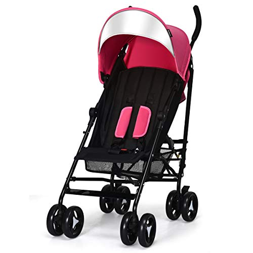INFANS Lightweight Baby Umbrella Stroller, Foldable Infant Travel Stroller with Carry Belt, 4 Position Recline, Adjustable Backrest, UV Protection Canopy, Cup Holder, Storage Basket (Light Pink)