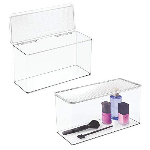 mDesign Makeup Plastic Holder Case Storage Organizer Box for Bathroom Vanity, Countertops, Drawers - Holds Eyeshadow, Lipstick, Lip Gloss, Makeup Brushes - Hinged Lid, 13.4