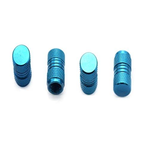 Dreamyth 4pcs Air Tyre Valve Caps Aluminium Dust Shield Hat (Bleu - Bleu Clair