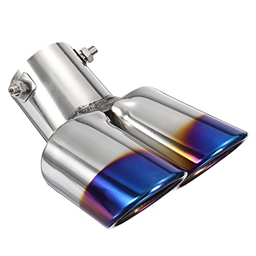 (AE Market 2.5 Inch Blue Car Burnt Dual Exhaust Pipes Polished Stainless Steel)