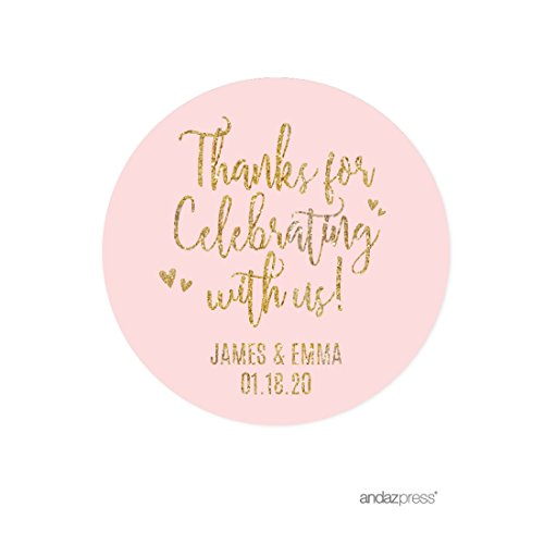(Andaz Press Blush Pink Gold Glitter Print Wedding Collection, Personalized Round Circle Label Stickers, Thank You for Celebrating With Us, 40-Pack, Custom Name )