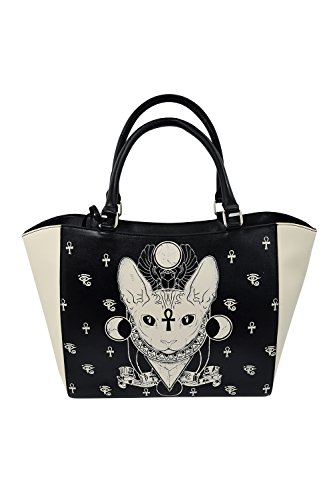 Banned Gothic Bastet Sphynx Cat Occult Goth Large Satchel Handbag