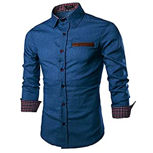 COOFANDY Men's Casual Dress Shirt Button Down Shirts Long-Sleeve Denim Work Shirt