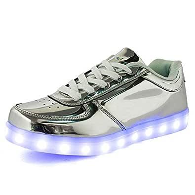 IGxx Flashing LED Light Up Shoes LED Sneaker Glowing Luminous USB Charging Unisex for Men Women Kids Silver