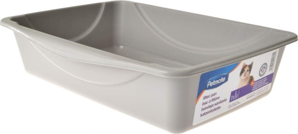 Petmate Open Cat Litter Box,Mouse Grey, Small (14''x10.5''x3.5'')
