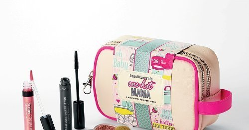 bareMinerals ONE HOT MAMA Cosmetic Case with 5 Must-Haves for Busy Moms (Glee Face Color)