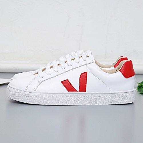 Mujer blanco Piel Zapatillas Welldone2018 de de Deporte Otra rojo n01R4pqY