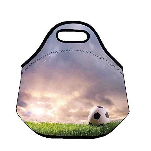 (Sports Decor Lightweight Neoprene Lunch Bag,Soccer Ball on Green Grass Dark Clouds Sunrise Meadow Landscape Picture for Kids Nurse Teacher Outdoor,Throw(11.8''L x 6.3''W x 11''H))