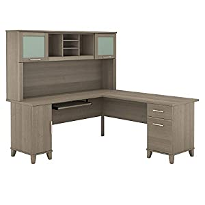 Bush Furniture Somerset L Shaped Desk with Hutch, 72W, Ash Gray