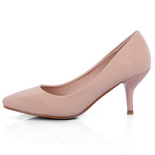 AalarDom Damen Weiches Material Rein Mittler Absatz Spitz Zehe Pumps Schuhe Aprikosen Farbe-Lackleder
