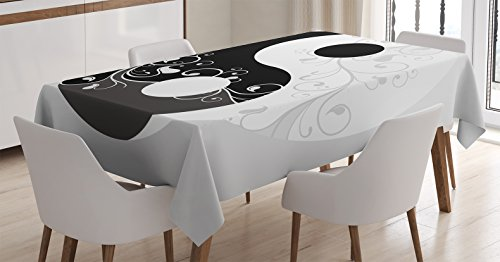 Flow Graphic - Ambesonne Ying Yang Decor Tablecloth, Floral Design Swirling Branches Leaves Pattern Flow of Energy Cultural Graphic Print, Rectangular Table Cover for Dining Room Kitchen, 60x90 Inches, Black White