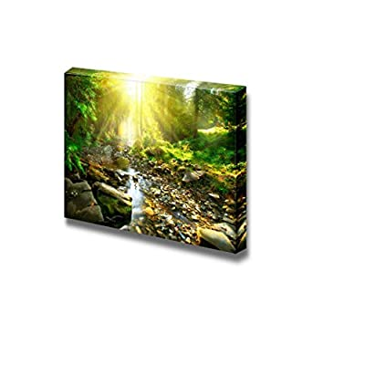 Canvas Prints Wall Art - Mountain River. Tranquil Scenery in The Middle of Green Forest | Modern Wall Decor/Home Art Stretched Gallery Wraps Giclee Print & Wood Framed. Ready to Hang - 32