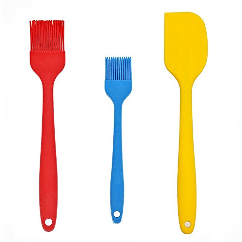 """2 Packs Silicone Basting Pastry Brush with Spatula, ANIN 8"""" 10"""" BBQ Oil Brushes for Grilling Marinating Turkey Baster Desserts Baking Barbecue, with Heat Resistant Scraper - Blue, Red, Yellow"""