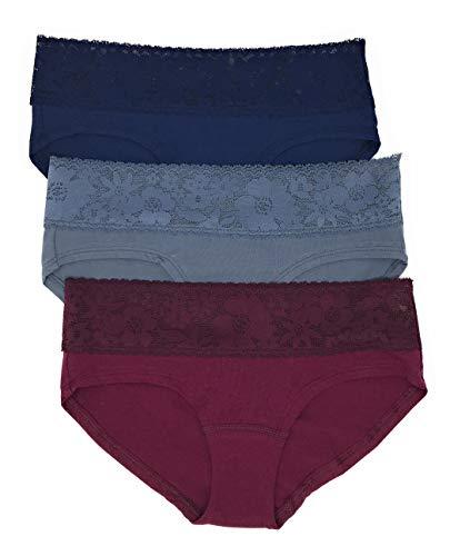 Victoria's Secret Lace Waist Hiphugger Panty Set of 3 Medium Navy/Dark Gray/Wine