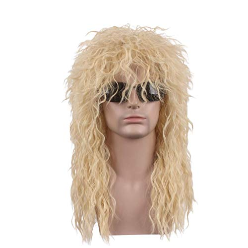 Qaccf 80s Wigs Halloween Costumes Male Wig Long Culry Punk Heavy Metal Mullet Wig (Blond) -