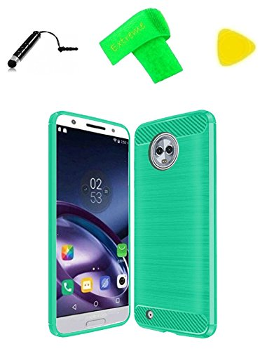 Brush TPU Flexible Skin Cover Phone Case + Extreme Band + Stylus Pen + Pry Tool For Motorola Moto G6 XT1925DL/Blaine (Brush TPU Teal)
