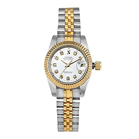 Topwatch® Sangdo Women's Two Tone Stainless Steel White Dial Automatic Mechanical Watches (Sangdo Automatic Watches)