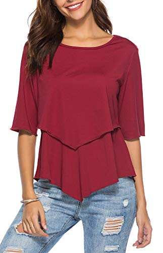 Red Peplum Tops for Women Fashion 2018 Ruffle Flowy Solid Peasant Blouse (Angel Blouse)