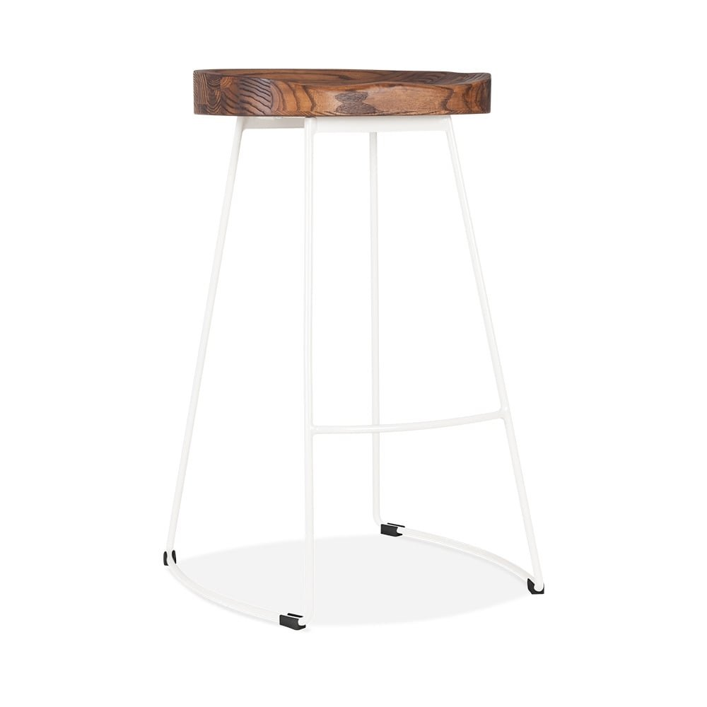 Cult Furniture Victoria Metal Bar Stool with Dark Wood Seat - White 65cm