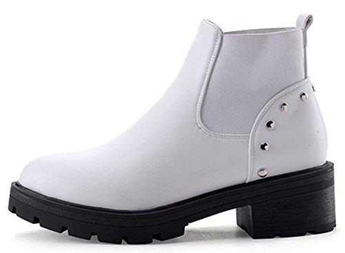 IDIFU Womens Casual Studded Low Heel Chunky Lug Sole Short Ankle Booties White Fa2Iv07AA