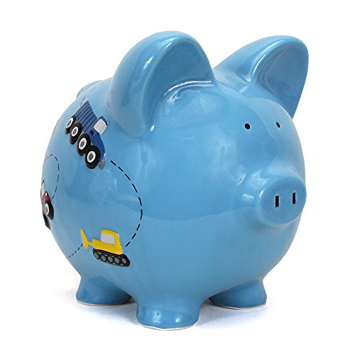 - Child to Cherish Ceramic Piggy Bank for Boys, Construction Trucks, Blue