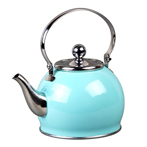 - Creative Home 77097 Royal Stainless Steel Tea Kettle with with Removable Infuser Basket, Folding Handle, 1.0 Quart, Aqua Sky Finish