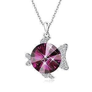 KesaPlan Animal Pendant Red Necklace for Women Girls Purple Crystal Pendant, Made with Swarovski Crystal