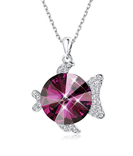 KesaPlan Animal Pendant Red Necklace for Women Girls Purple Crystal Pendant, Made with Swarovski Crystal