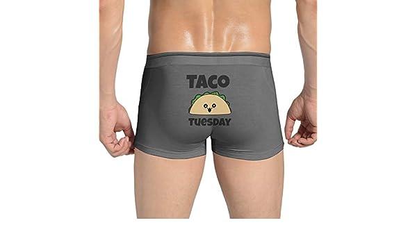 Ghhpws Mens Kawaii Taco Underwear Cotton Boxer Briefs Stretch Low Rise Trunks White