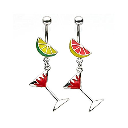 - MsPiercing Fruit Navel Ring With Dangling Flaming Martini Glass, B - Yellow/Red